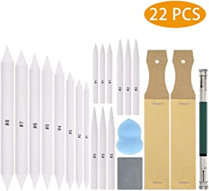 22 PCS Blending Stumps and Tortillions Paper Art Blenders Set with 2pcs Sketch Sandpaper Pencil Sharpener Pointer for Artist Student Drawing Sketch Drawing Tool