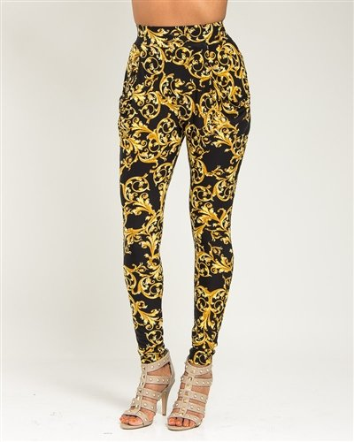Black and Gold Fleur Pants - Small