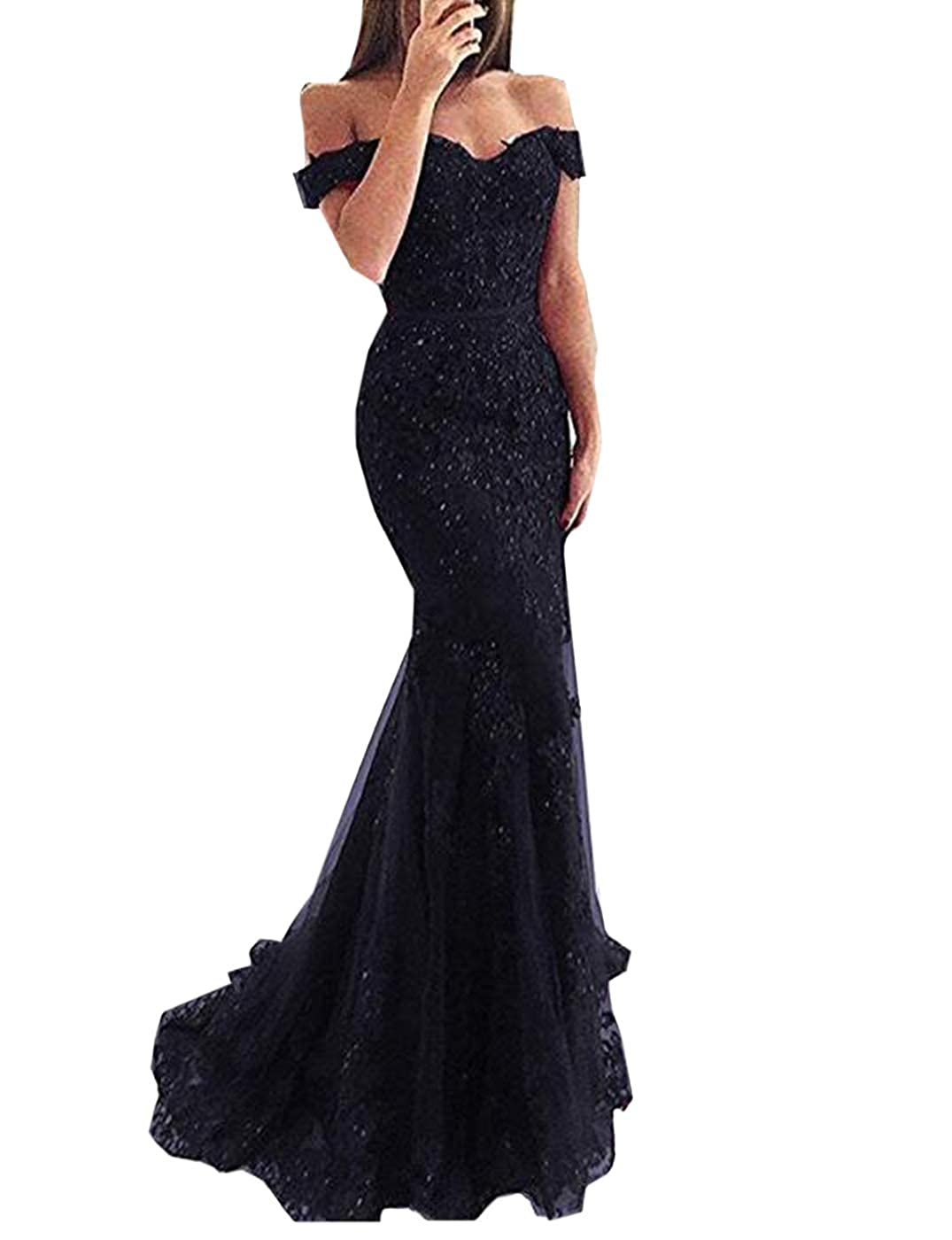 Black Alicebridal Women's Sexy V Neck Off Shoulder Mermaid Prom Dresses Lace Appliques Formal Evening Party Gowns