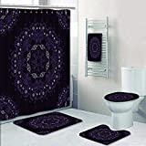 Philip-home 5 Piece Banded Shower Curtain Set Mandala Style lace Doily Can be Used as a Backdrop Paper or for Packaging Bag Template etc Decorate The Bath