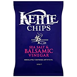 Kettle Chips Balsamic Vinegar and Sea Salt 150 g (Pack of 4) 16 Suitable for vegans Unconventionally strong and tangy Perfect balance of zesty sea salt, a hint of tongue-puckering vinegar