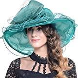 Ladies Flower Gold Color Sun Hats Derby Belmont Wash S019 Church Hat Organza Horse Flower for 23 Top Women's (s601-emerald) Lights Pac Tea Inch Party Woolite Hat Wide Ascot Woman to Derby Kentucky
