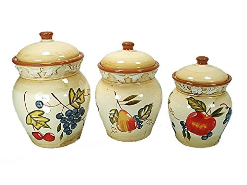 (D'Lusso Designs 9104 Three Piece Ceramic Canister Set Fruit Design)