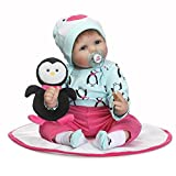 Lifelike Reborn Baby Dolls Girl Light Blue Rose Red Outfit with Toy Penguin