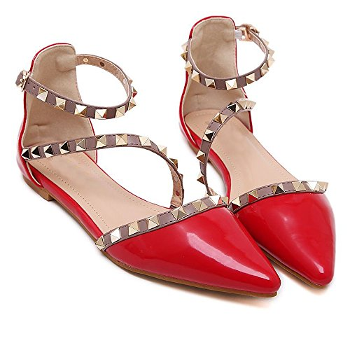 Lace Up Patent Leather Pumps - Maybest Women Patent Leather Rivets Flats Shoes Sexy Pointed Toe Pump Red 8 B(M) US