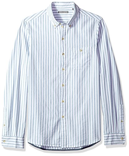 Woven Shirt Vertical Stripe (Michael Bastian Men's Long Sleeve Vertical Stripe Oxford Woven Shirt, ice Blue, Extra Large)
