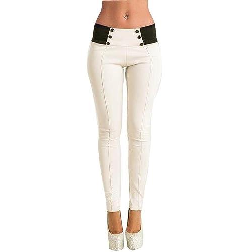 WINWINTOM - Pantalón - jegging - para mujer blanco blanco XL
