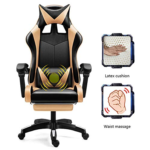 ZXWCYJ Massage Gaming Chair, Ergonomic Gaming Chair Racing Style, with Adjustable Recliner and Retractable Footrest and…