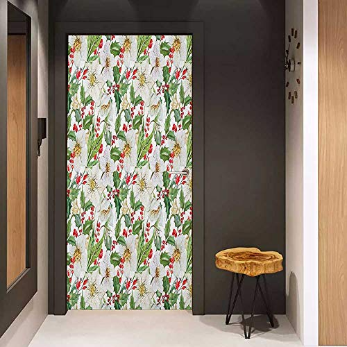 Onefzc Self-Adhesive Wall Murals Watercolor Christmas Themed Floral Poinsettia Winter Inspirations Berries Leaf Sticker Removable Door Decal W35.4 x H78.7 Vermilion Green Yellow