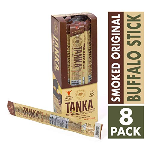 Buffalo Smoked Jerky - Bison Pemmican Meat Stick with Buffalo & Cranberries by Tanka, Gluten Free, Grass Fed Beef Jerky Alternative, Slow Smoked Original, 1 Oz, Pack of 8