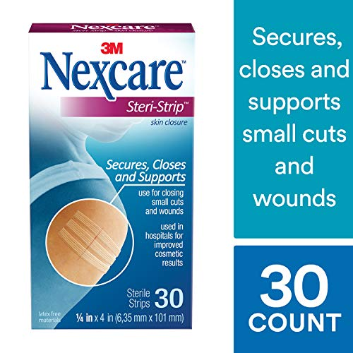 Nexcare Steri-Strip Skin Closure, Made by 3M, 3 Inch X 4 Inch, 30 Pack ()