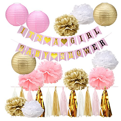 Baby Shower Decorations It's A Girl Banners Tissue Pom Pom Flowers Paper Lanterns Tassel Garland for Party Decoration