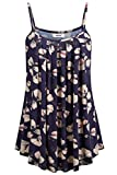 BEPEI Plus Size Floral Print Tanks, Summer Comfy Loose Fit Pleated Shirts Basic Cami Tops Sleeveless Business Casual Blouses for Work Navy 2XL