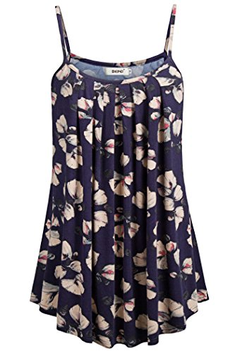 (BEPEI Plus Size Floral Print Tanks, Summer Comfy Loose Fit Pleated Shirts Basic Cami Tops Sleeveless Business Casual Blouses for Work Navy 2XL)