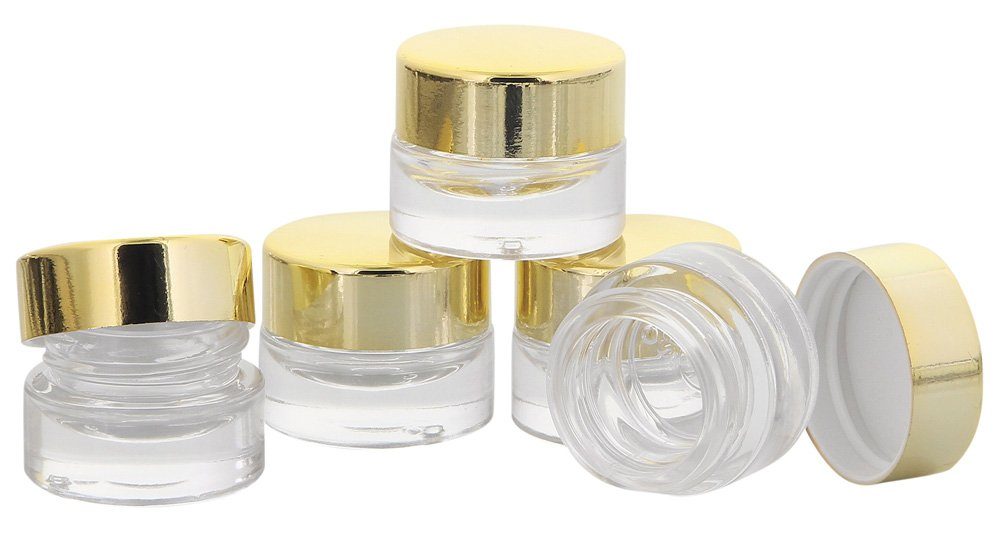 Klarglastiegel m. Kunststoff-Deckel, 5 ml Leerer Tiegel, Kosmetex Glasdose, 10× schwarz 10× schwarz