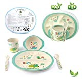 Kids Dinnerware Set of 5 Piece - Bamboo Kids Cups,Kids Plates,Bowl,Toddler Fork & Spoon, BPA Free, Dinosaur Plates for Baby Shower Gift (Little Dinosaur)