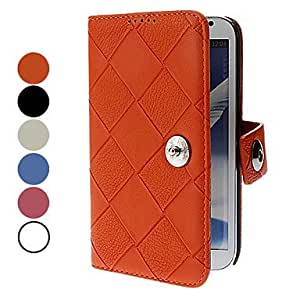 AES - Lattice Design PU Leather Case with Card Slot for Samsung Galaxy Note 2 N7100 (Assorted Colors) , Black