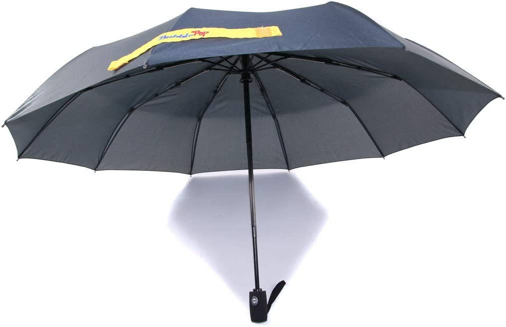 BubblePop Windproof Travel Umbrella - 9 Fiberglass Ribs Automatic Open//Close DuPont Teflon Waterproof Gray//Gray