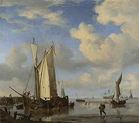 Oil Painting 'Willem Van De Velde Dutch Vessels Inshore And Men Bathing' 8 x 9 inch / 20 x 23 cm , on High Definition HD canvas prints is for Gifts And Bar, Dining Room And Foyer - Log Seven Drawer Dresser