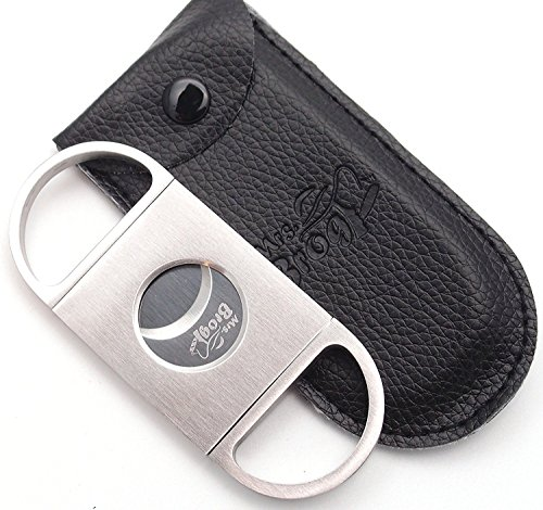 Mrs. Brog Stainless Steel Cigar Cutter With Back Protector - Round Ends - Leather Pouch - Guillotine Double Blade for a Precise Perfect Cut
