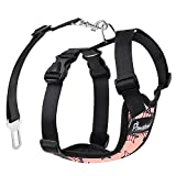 Pawaboo Dog Safety Vest Harness, Pet Dog Adjustable Car Safety Mesh Harness Travel Strap Vest with Car Seat Belt Lead Clip, Extra Large Size, Pink with US Flag