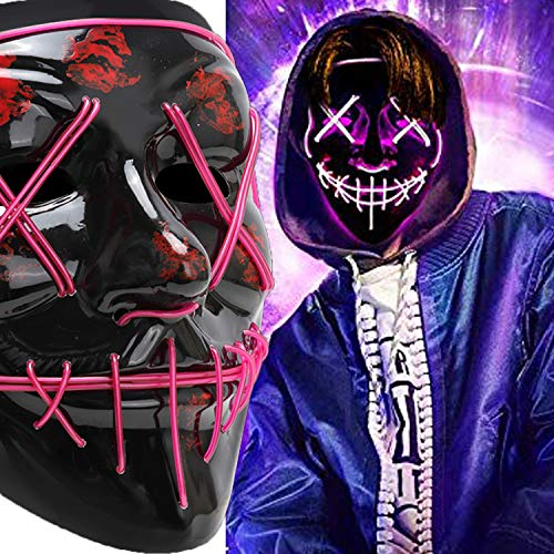 Halloween Scary Mask Cosplay Led Costume Mask EL Wire Light up Purge Mask for Halloween Festival Party (LED-Purple)