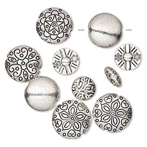 10 Antiqued Silver Plated Pewter Puffed Round Coin Beads for Jewelry Making, Supply for DIY Beading Projects Mix ~ 12-19mm (Puffed Beads Coin)