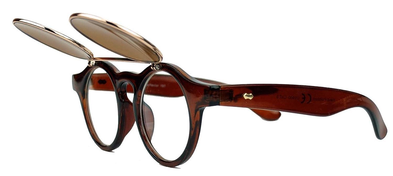 50er 60er Jahre Retro Sonnenbrille klappbare Gläser rund Vintage Steampunk Flip up FARBWAHL FL97 (Oakwood/Fire) bFJ4FEeVP2