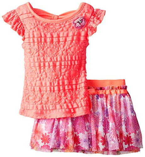 Self Esteem Little Girls' Flutter Sleeve Lace Top with Printed Scooter, Coral, 4T