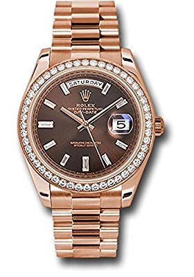 Rolex Oyster Perpetual Day-Date 40mm 18K Everose Gold Watch With Everose Gold Bezel Set With 48 Diamonds, Chocolate Dial With 10 Baguette Diamond Hour Markers and Everose Gold Presidential Bracelet.