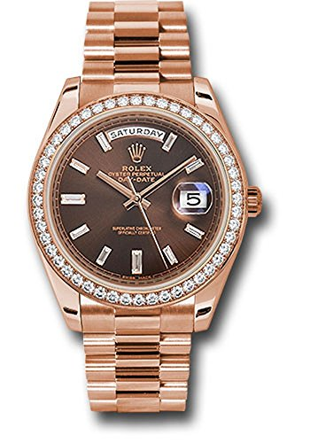 (Rolex Oyster Perpetual Day-Date 40mm 18K Everose Gold Watch With Everose Gold Bezel Set With 48 Diamonds, Chocolate Dial With 10 Baguette Diamond Hour Markers and Everose Gold Presidential Bracelet.)
