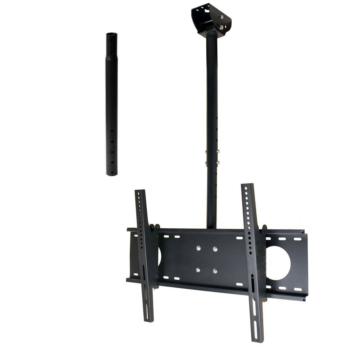 VideoSecu Adjustable Tilting Ceiling Mount for Most 37''-60'' LCD LED Plasma TV Flat Panel Display, Some up to 75'' LED TV Fits Flat or Vaulted Ceiling Extending 26-55'' MPC53BE 1UO