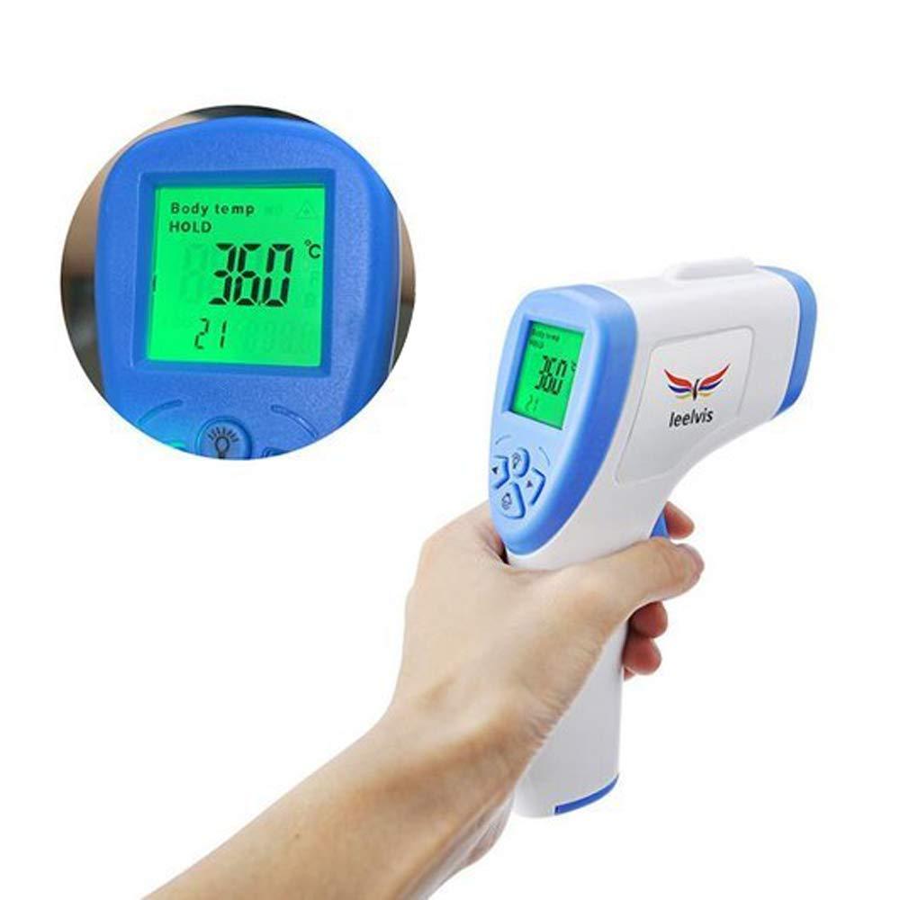 LEELVIS Digitales Front-Thermometer mit Infrarot-Sensor und Fieber-Alarm mit 32 Speicherpl/ätzen geeignet f/ür Kinder Erwachsene und Objekte