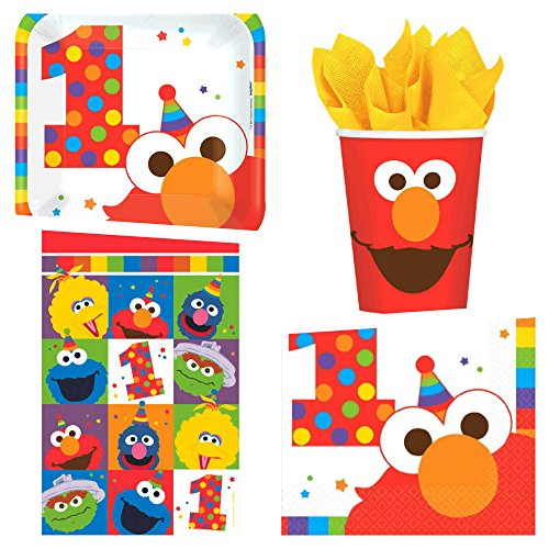 Sesame Street Elmo First Birthday Party Supplies Bundle 50 Pieces   1st Birthday Pack for 16 Guests   Includes Plates, Napkins, Cups, Table Cover and eBook (Basic) ()