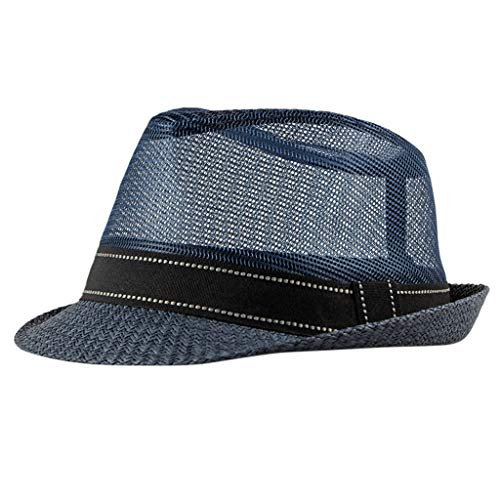 (Unisex Small Top Hat  Summer Cool Elegant Trilby Hat & Stylish Outdoor Casual Hollow Net Breathable Beach Hat Cap)