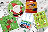 Kids Christmas Table Coloring and Activity Party Supply Pack: Bundle Includes Plates, Napkins, Stickers, Crayons and Paper Activity Table Cover for up to 8 Guests