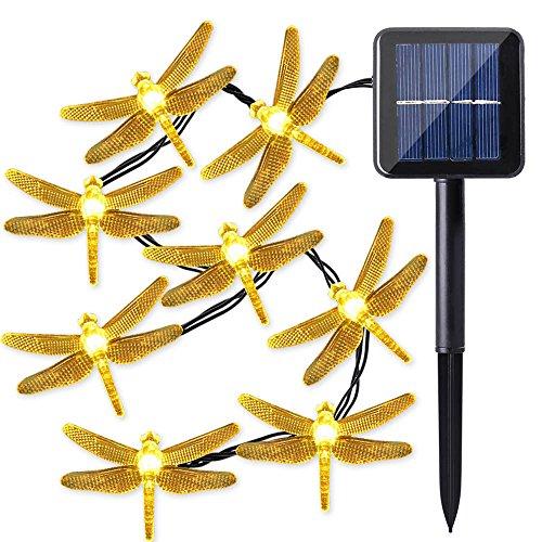Qedertek Solar String Lights, 20ft 30 LED Dragonfly Waterproof Decorative Fairy Lights for Indoo ...