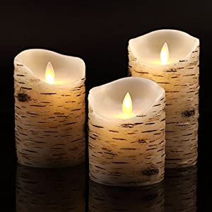 Flameless Candles with brich Effect 4″ 5″ 6″ Set of 3 Dripless Real Wax Pillars Include Realistic Dancing LED Flames and 10-Key Remote Control with 24-Hour Timer Function -AntizerTM