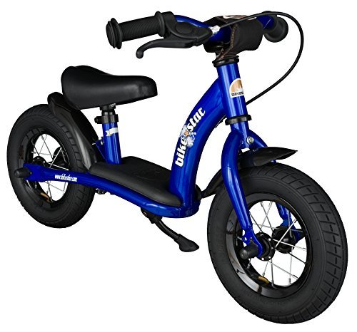 BIKESTAR Original Safety Lightweight Kids First Balance Running Bike with Brakes and with air Tires for Age 2 Year Old Boys and Girls | 10 Inch Classic Edition | Adventurous Blue