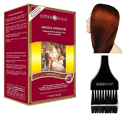 - Surya Brasil All Natural HENNA Hair Color POWDER Dye, Coloring & Hair Treatment (with Brush) Brazil (MAHOGANY)