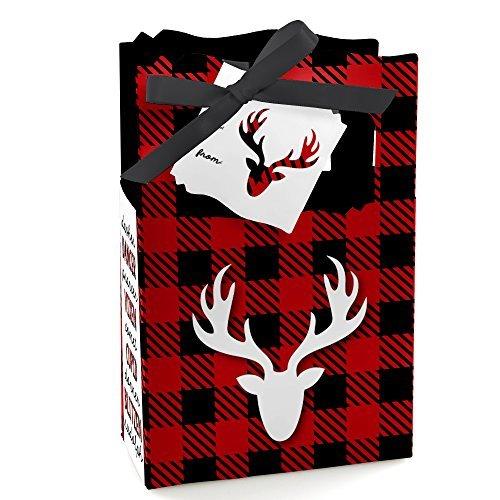 (Big Dot of Happiness Prancing Plaid - Christmas & Holiday Buffalo Plaid Party Gift Bag - 12 Count)