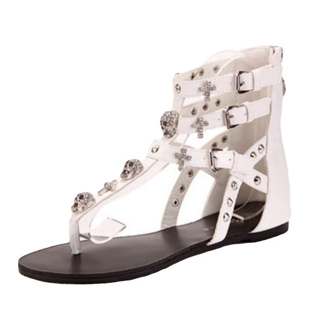 Summer Sandals Flip Flops Women,FAPIZI Beach Shoes Platform Bohemian Gladiator Beaded Rhinestone T-Strap Flat White