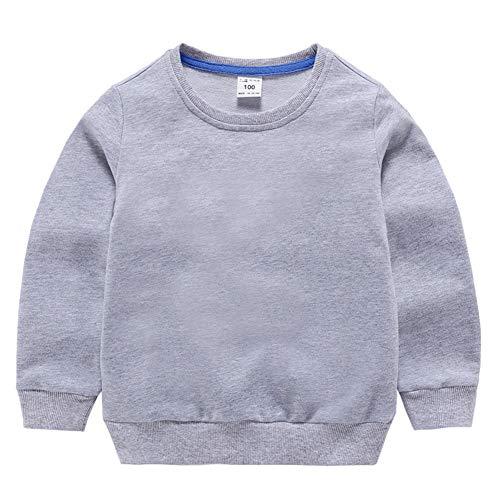 HAXICO Unisex Kids Solid Cotton Pullover Sweatshirt T-Shirt Toddler Baby Boys Girls Crewneck Long Sleeve T-Shirt Tops Blouse Gray