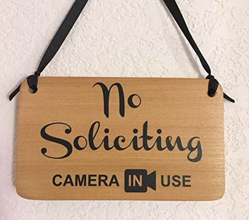 No soliciting Camera in Use – hanging sign with Ribbon – Handmade in USA -Solid poplar wood Cute security signage for home or business.