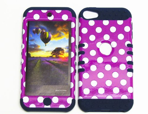 HYBRID SHOCK RESISTANT MEGA COVER SOLID CASE AND DARK BLUE SKIN WITH STYLUS PEN KOOLKASE ROCKER FOR Apple IPod ITouch 5 POLKA DOTS WHITE PINK DB-TP1647