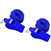 Golvery Coaches Referee Whistle with Lanyard, Blue Plastic Whistles for School Sports, Soccer, Football, Basketball and Lifeguard, Survival Emergency Dog Training (Blue-2pcs)