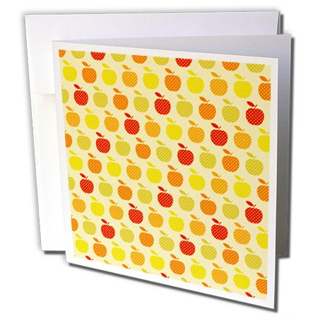 Anne Marie Baugh Patterns - Red, Green, Yellow Polka Dots Apple Pattern - 12 Greeting Cards with envelopes (gc_176477_2)