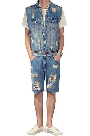 Denim Men's Summer Knee Length Overalls Holes Ripped Sleeveless Jumpsuits Size 32