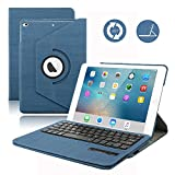 D DINGRICH Keyboard Case for 2018 iPad 9.7/iPad 9.7 2017,Dingrich 360 Degree Rotating Case with Magnetic Removable Bluetooth Keyboard for New iPad 6th Generation and iPad 5th Genration (Dark Blue)