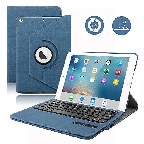 iPad 9.7 Keyboard Case for 2018 iPad 6th Gen, 2017 iPad 5th Gen, 360 Rotatable, Built-in Magnet, Removable Wireless Bluetooth Keyboard,2018 & 2017 iPad 9.7 Case with Keyboard (Blue)